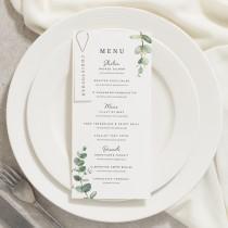 wedding photo - Wedding Menu Cards, Dinner Menu Cards, Menu Card With Place Card, Floral Menu, Eucalyptus, Greenery Wedding 'Aisyah'