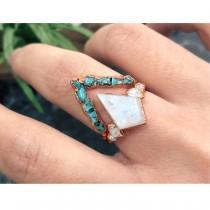 wedding photo - Raw Turquoise Ring, Raw Moonstone Ring, Raw Stone Engagement Ring Set, Raw Gemstone Ring, Rough Stone Ring, Raw Stone Ring For woman