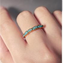 wedding photo - Raw Turquoise Ring for Women, Blue Turquoise Engagement Ring, Turquoise Wedding Ring Band, Simple copper ring, Turquoise Stackable Ring,