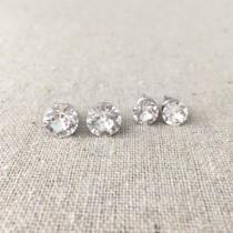 wedding photo - Swarovski Crystal Stud Set, Surgical Steel Post Earrings, Faux Diamond Rhinestone Earrings, Simple Everyday Earrings, Bridesmaids Ask Gifts