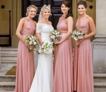 wedding photo - Long/ Short Dusty Rose Convertible Bridesmaid Dress Infinity Bridesmaid Dress Maternity Dress Multi-way Wrap Dress Formal Party Dress
