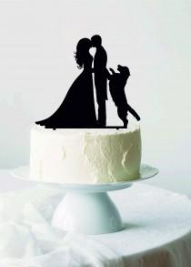 wedding photo - Wedding cake topper with Dog, Cake Topper with Golden Retriever, Bride and Groom with labrador, Silhouette dog, Favorite dogs, Funny Topper
