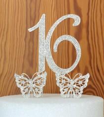 wedding photo - Crystal Cake Toppers Large Number 15 or 16 Quinceanera Cake Topper 15th Birthday Cake Pick cake decoration anniversary