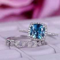 wedding photo - 2 pcs 7mm Cushion Cut London Blue Topaz Engagement ring/14k White gold diamond band/Halo Stacking/Half Eternity wedding ring/Birthstone Gift