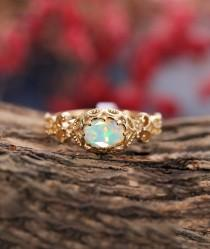 wedding photo - Vintage oval cut opal engagement ring yellow gold, art deco ring unique ring ,delicate ring milgrain ring, promise ring,anniversary ring