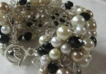 wedding photo - Black, White, Ivory, Champagne Cuff Bracelet, Smokey Quartz Crystal, Elegant Pearls, Classic Hand Knit, Sereba Des