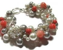 wedding photo - BRIDAL Pearl Bracelet, Persimmon, Salmon, Peach,  POPPY Pink Coral,White, Silver Grey, Limited Edition Color, Sereba Designs