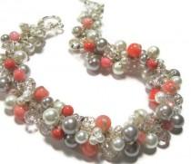 wedding photo - Pearl BRIDAL Necklace, POPPY, Coral, Guava, Persimmon, Salmon, White, Silver Grey, Limited Edition Color Pearl. Original Sereba Designs