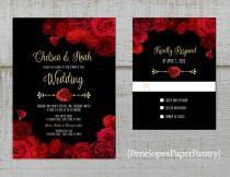 wedding photo - Elegant Black Floral Wedding Invitation,Red Roses,Gold Print,Shimmery,Custom,Printed Invitation,Wedding Set,Optional RSVP Card