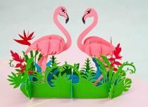 wedding photo - Flamingo Pop Up Greeting Card