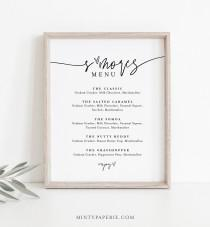 wedding photo - S'mores Menu, Printable Smores Bar Sign, Minimalist Wedding S'mores Station, 100% Editable Template, Instant Download, Templett  #0009-31S