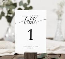 wedding photo - Wedding Table Numbers Printable, Table Numbers Template, Calligraphy Table Numbers, 5x7, 4x6, Edit with TEMPLETT, WLP-SOU 690