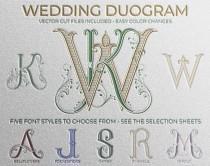 wedding photo - 2 Letter Monogram, Made to Order with Pre-Designed Fonts, Custom Wedding Monogram, Monogram SVG, Vector Cut file