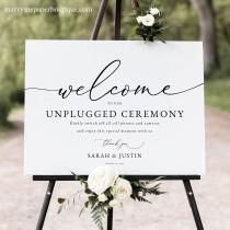 wedding photo - Classic Unplugged Ceremony Sign Template, Elegant Wedding Sign, Printable, Fully Editable, Templett, INSTANT Download