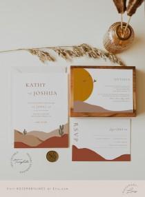 wedding photo - Modern desert wedding invitation template, mountain wedding invitation set, abstract bohemian terracotta invites, cactus, earth tones #097-5
