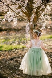 wedding photo - Full Length Sage Green Tulle Sleeveless Lace Top Scalloped Edges Back Party Flower Girl Dress
