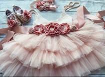 wedding photo - Blush Flower girl dress, birthday party dress, ,Baby toddler dress, tulle tutu flower girl dress, mauve flower sash dress