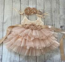 wedding photo - Champagne Flower girl dress, 1ers birthday dress, Lace top,Baby  toddler dress,tulle tutu flower girl dress, holiday dress