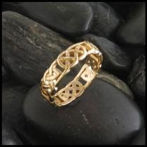 wedding photo - Celtic Wedding Band in 14K Yellow, Rose or White Gold, Open Knot Celtic Band, Celtic Wedding Ring