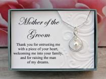 wedding photo - Mother of the Groom necklace gift from Bride  Sterling silver infinity necklace Swarovski crystal pearl Thank you gift for groom's mother