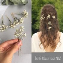 wedding photo - 3 pcs/5 pcs/8 pcs Babys breath hair pins Gypsophila hair piece Dried flower hair accessory Rustic floral headpiece Bridal hair piece Boho