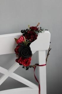 wedding photo - Gothic wedding flower crown, Wedding flower crown, Burgundy crown