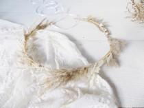 wedding photo - Dried flower crown wedding rustic hair piece bridal hair accessories pampas grass crown boho bridal crown
