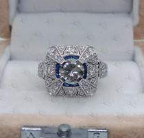 wedding photo - 1.90 Ct Round Cut Near White Moissanite and Sapphire Art Deco Engagement Cocktail Ring In 925 Sterling Silver