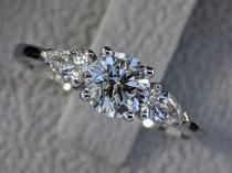 wedding photo - 1 Carat Engagement Ring, 3 Stone Diamond Ring, Round and Pear Diamonds Ring, Legacy Engagement Ring, Classic Diamond Engagement Ring