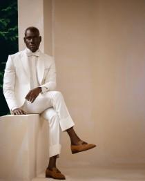 """wedding photo - The """"George Taubman"""" Ivory White, Shawl & Peak lapel Wedding Tuxedo"""