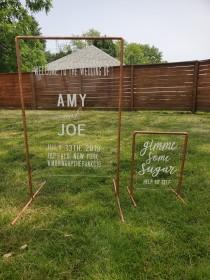 wedding photo - Copper Wedding Table Stand Welcome Sign Frames