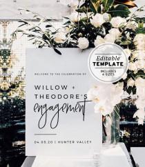 wedding photo - Juliette Engagement Party Welcome Sign, Engagement Celebration, Editable Welcome Sign, Edit & Print, Printable #004