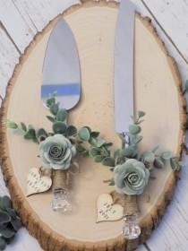 wedding photo - Personalized Rustic Eucalyptus Wedding Cake Serving Set with Wooden Heart Tags