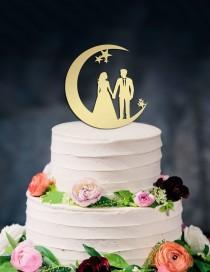 wedding photo - Moon and Stars Cake Topper, Wedding Cake Topper, Couple silhouette, Moon cake topper, Custom Cake Topper