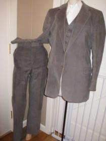 wedding photo - Vintage Mens Gray Corduroy 3 Piece Suit/College Hall Mens Suit/Corduroy Trousers/Gray Vest/3 Piece Suit /Size 42-44 Blazer/ 36/33 Pants