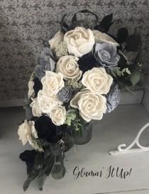 wedding photo - Slate Blue, Dusty Blue Bouquet, Dusty Blue, Ivory Boutonnière, Corsage, Cake flowers, Something Blue Wedding, Sola Wood Flowers