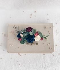 wedding photo - Flower Hair comb, Navy flower hair comb, Eucalyptus flower hair clip, Burgundy Flower hair comb, Wedding flower hair clip
