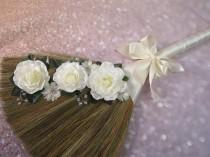 wedding photo - Wedding Broom with Bling for Jump The Broom Ceremony - Cascading Ivory Roses - (Ivory Ribbon) *PLEASE READ AD Below for Details