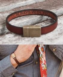 wedding photo - Long Distance Relationship Gift for Boyfriend Mens Gifts Leather Bracelet for Men Gift for Him Personalized Gift Hidden Secret Message