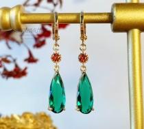 wedding photo - Jenkins Emerald Green Earrings Hypoallergenic Dangle and Drop Howl Earrings Engagement Earrings Wedding Earrings Gift Anime Earrings Cosplay