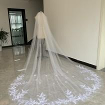 wedding photo - Gorgeous Bridal Wedding Veil Cathedral length Tulle Lace Applique Edge White Or Ivory One Layer Veil With Comb