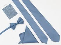 wedding photo - STLBLUEMTL Wedding Tie, Men's Ties, Vintage Men's Tie, Stlbluemtl Bow Tie, Groomsmen Tie, Stlbluemtl Dress Tie, Pocket Square Tie Stlbluemtl