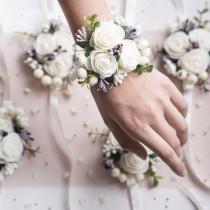 wedding photo - Flower wrist corsage, Wedding corsage, Bridesmaids corsage, Bridal bracelet, Prom corsage, White purple wedding