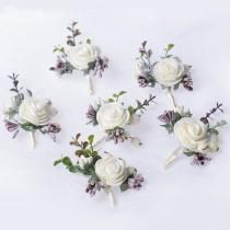 wedding photo - Wedding boutonniere, Groomsman boutonniere, Fiance boutonnière, White and purple bouton hole, Prom rose buttonholes, Rose keepsake for kids
