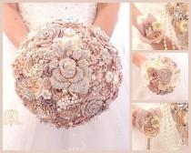wedding photo - Champagne rose gold luxury wedding brooch bouquet