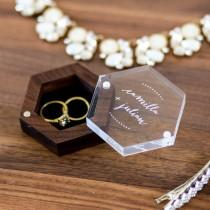 wedding photo - Hexagon Ring Box with Clear Acrylic Lid & Wood Base - Engraved Modern Wedding Ring Bearer Box, Engagement Proposal Ring Storage, Ring Dish