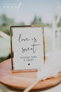 wedding photo - ADELLA Love is Sweet Sign Printable, Modern Minimalist Wedding Favor Sign, Please Take a Favor, Sweet Treat Baby Shower Bridal Shower DIY
