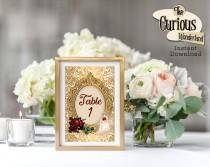 wedding photo - Beauty & The Beast Printable Table Numbers, Table 1-20, Princess Wedding, Table Numbers, Fairytale Wedding, Princess Birthday Decorations