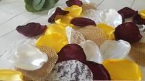 wedding photo - Sunflower Yellow Rustic Wedding Decor, Burgundy, Flower Girl Rose Petals, Burlap and Lace, Boho Barn Wedding, Custom Wedding Aisle Decor