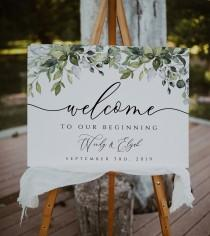 wedding photo - Greenery Wedding Welcome Sign Template, Rustic Wedding Welcome Sign, Printable Welcome Sign Wedding, Templett, Eucalyptus, Watercolor, BD44